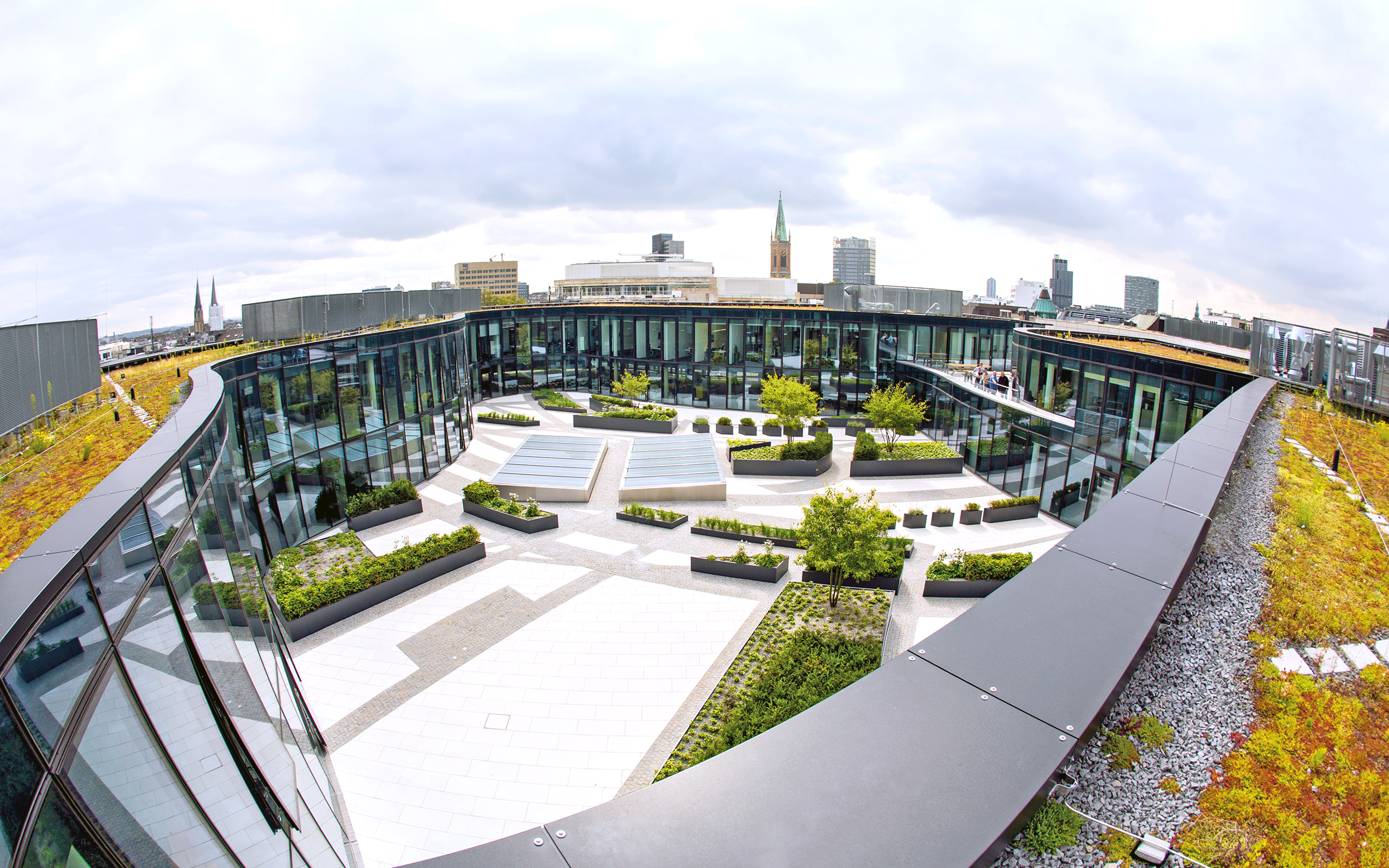 Green roofs planted with Sedum and view into the courtyard from above
