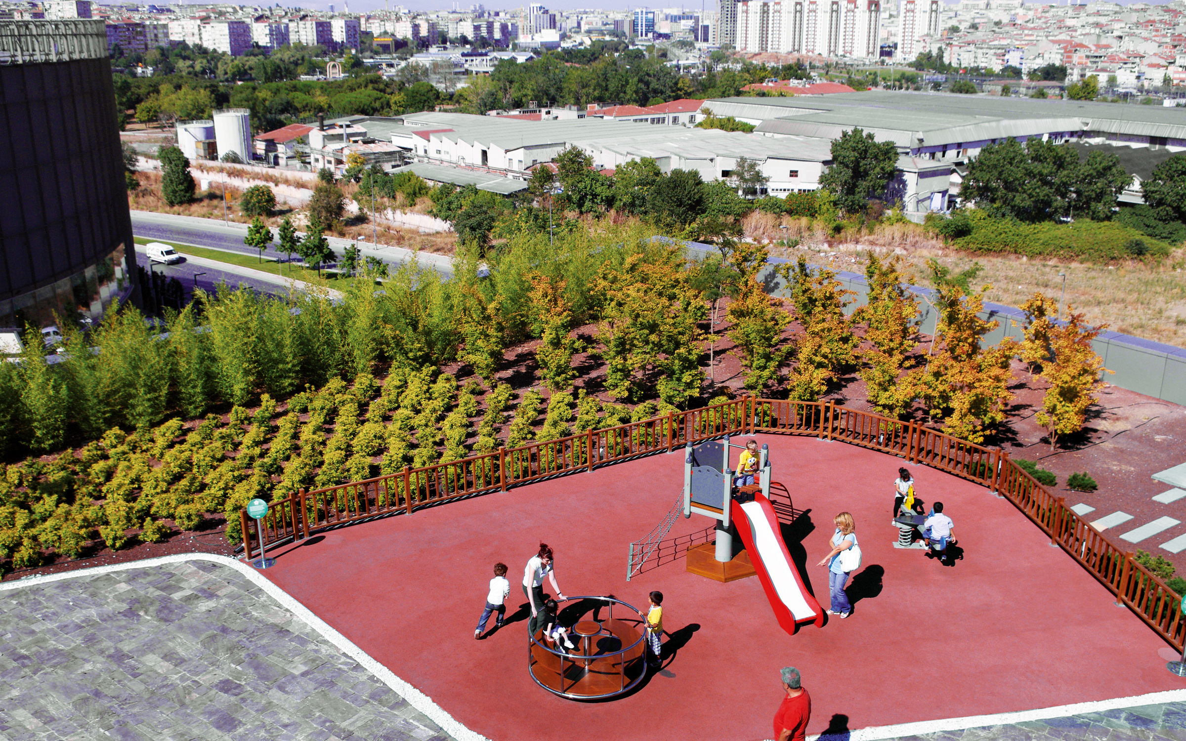 Playground for children on a roof