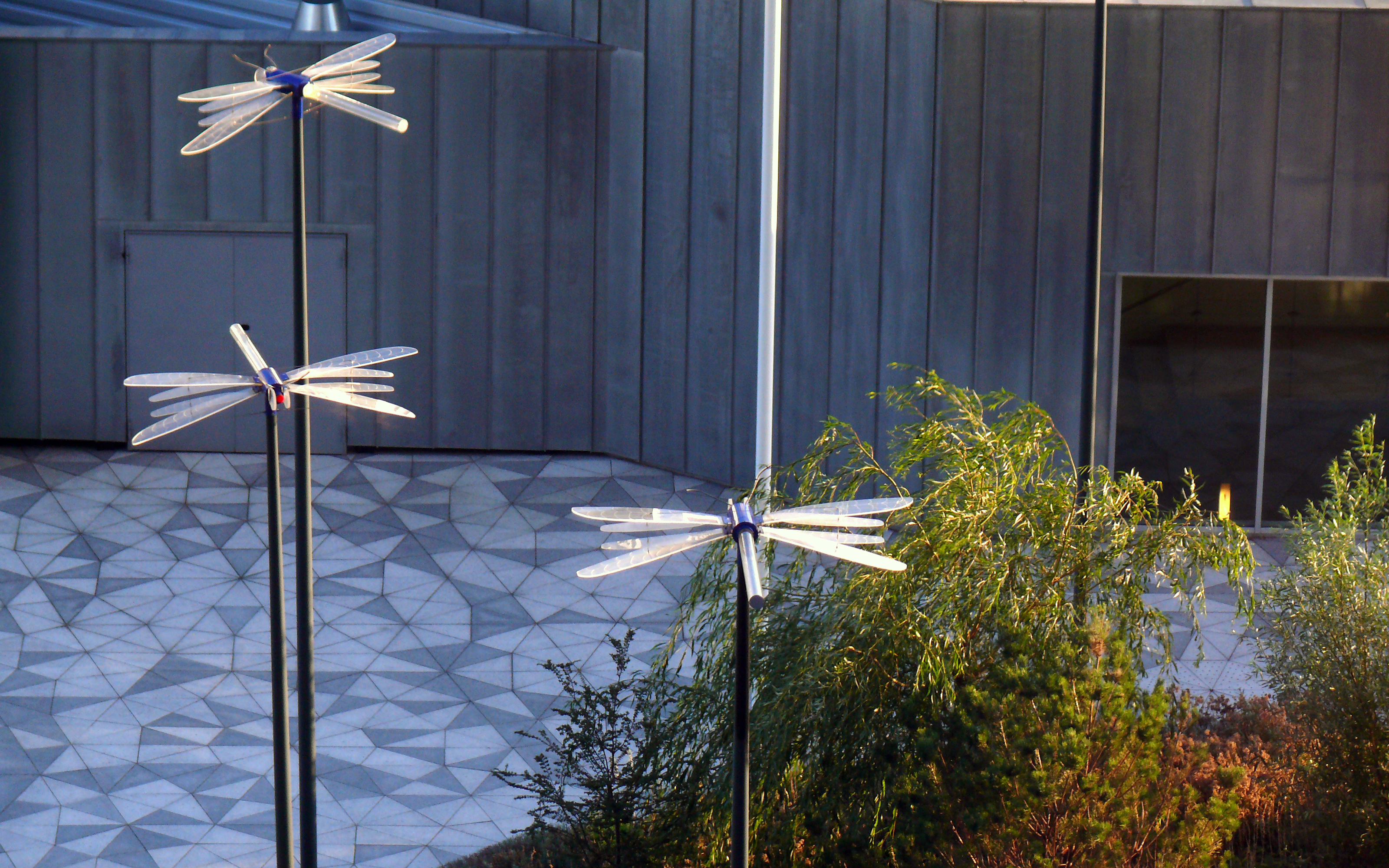 Walkways in harlequin pattern and dragonfly-like spotlights