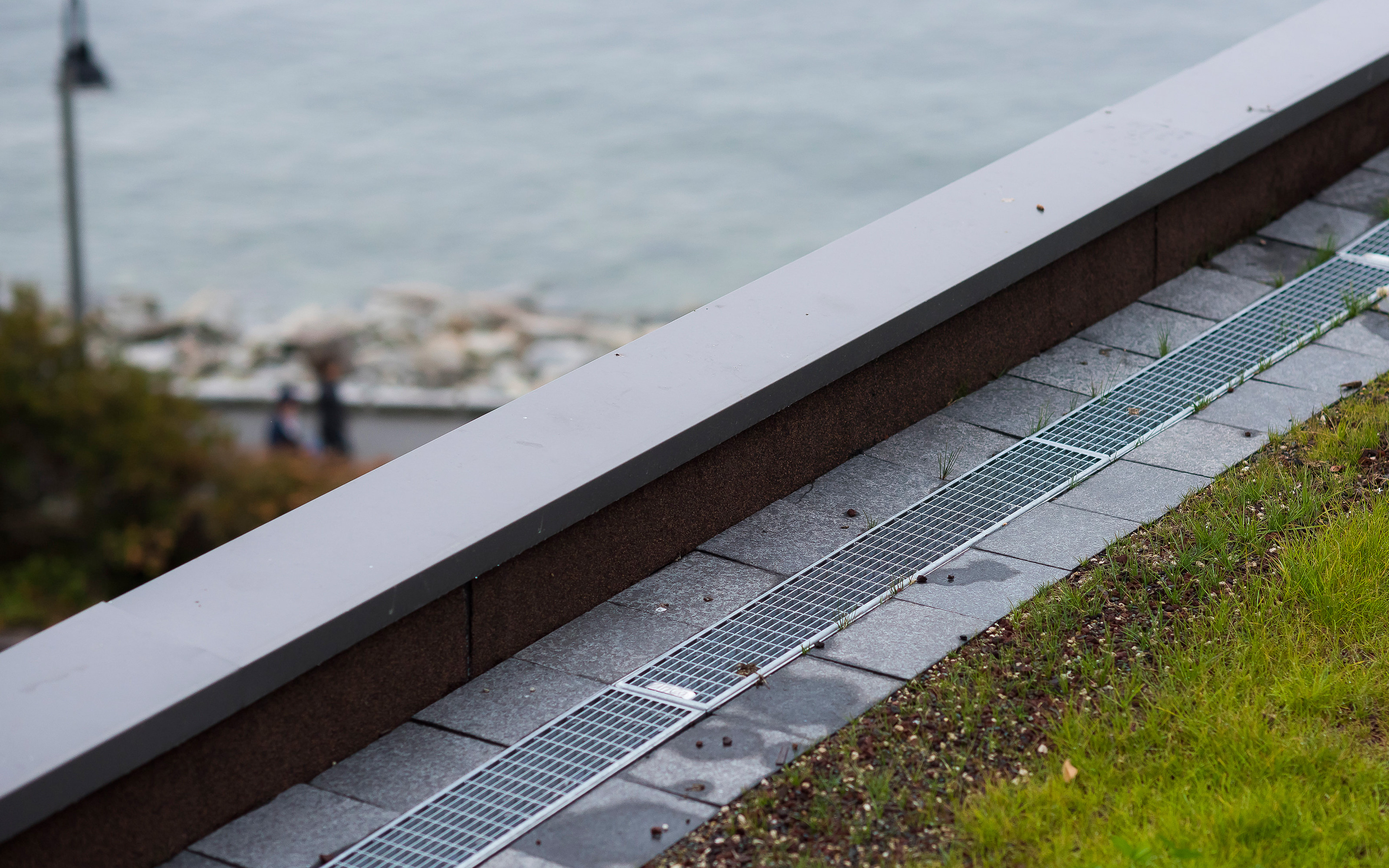 Drainage channels on a green roof