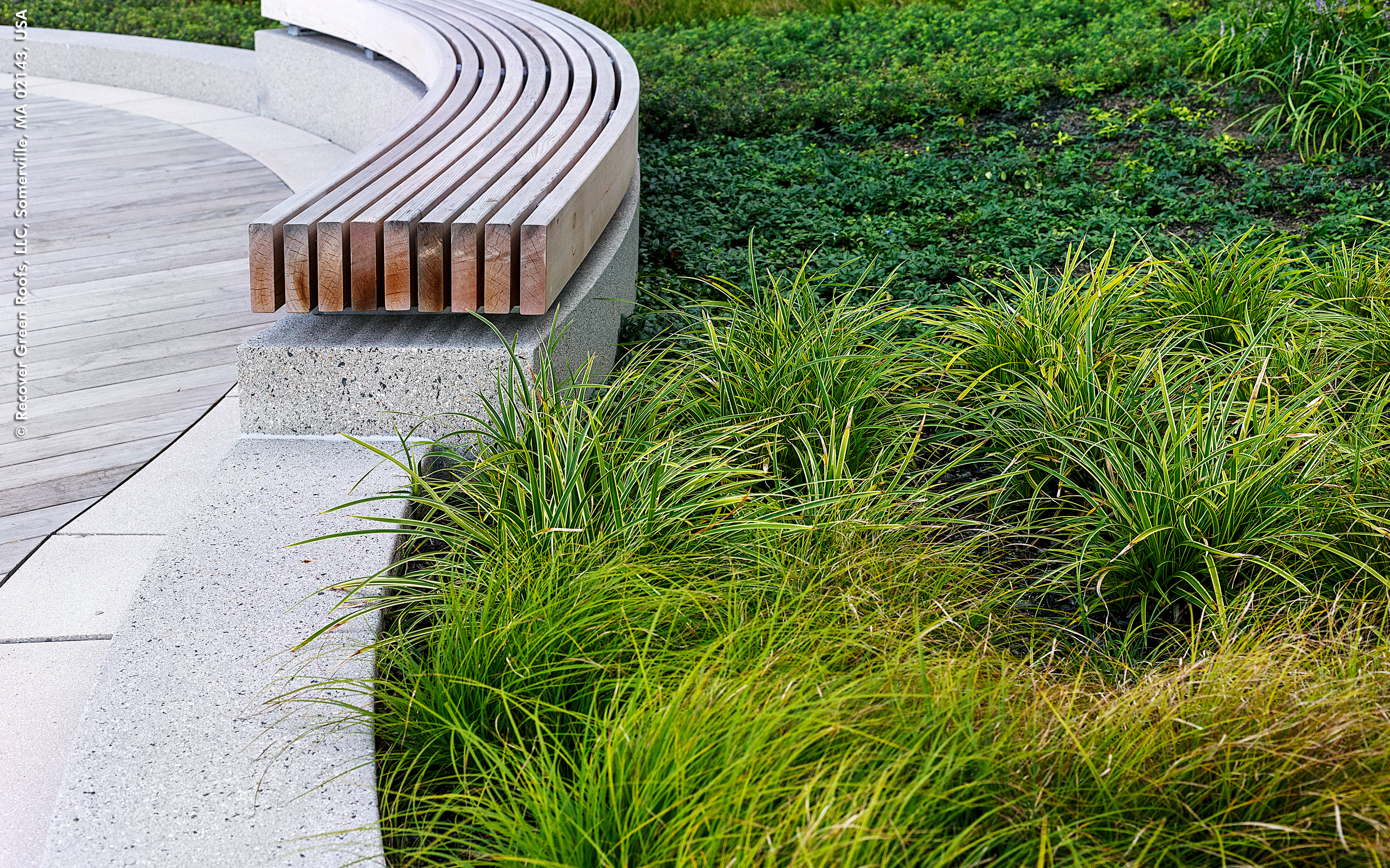 Plant bed and curved bench