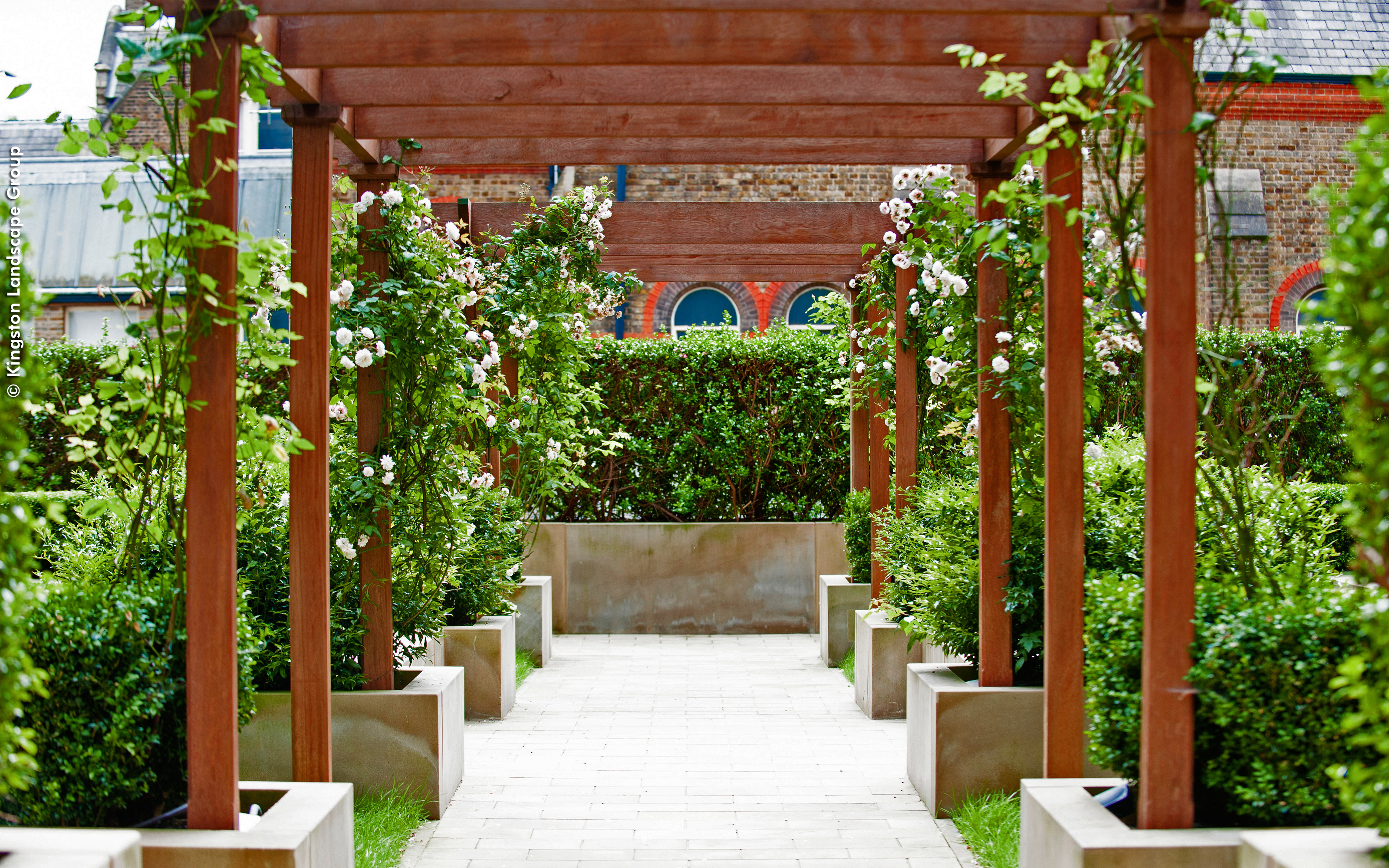 A wooden pergola with creepers and planters