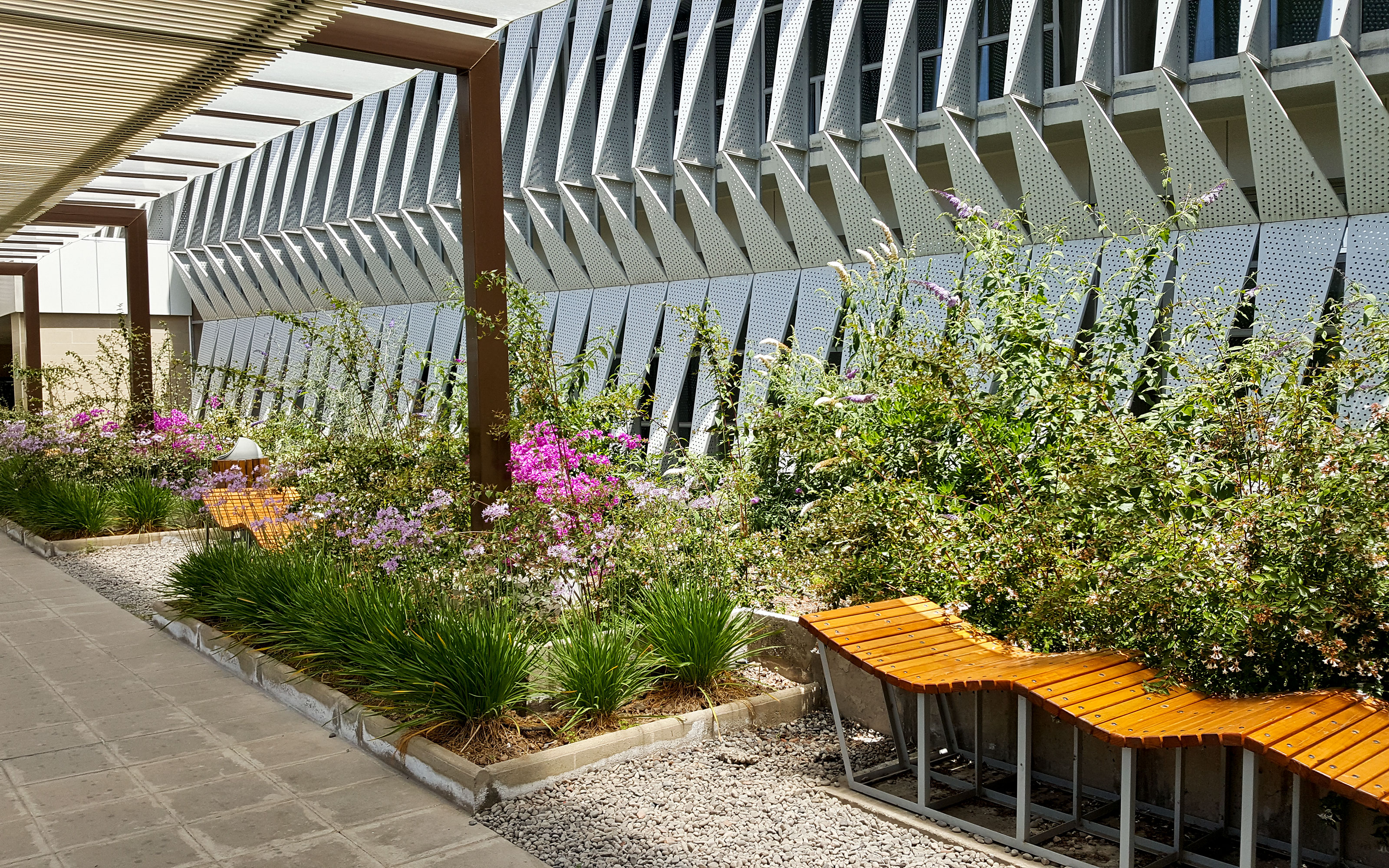 Plant beds with flowers and wave-like benches