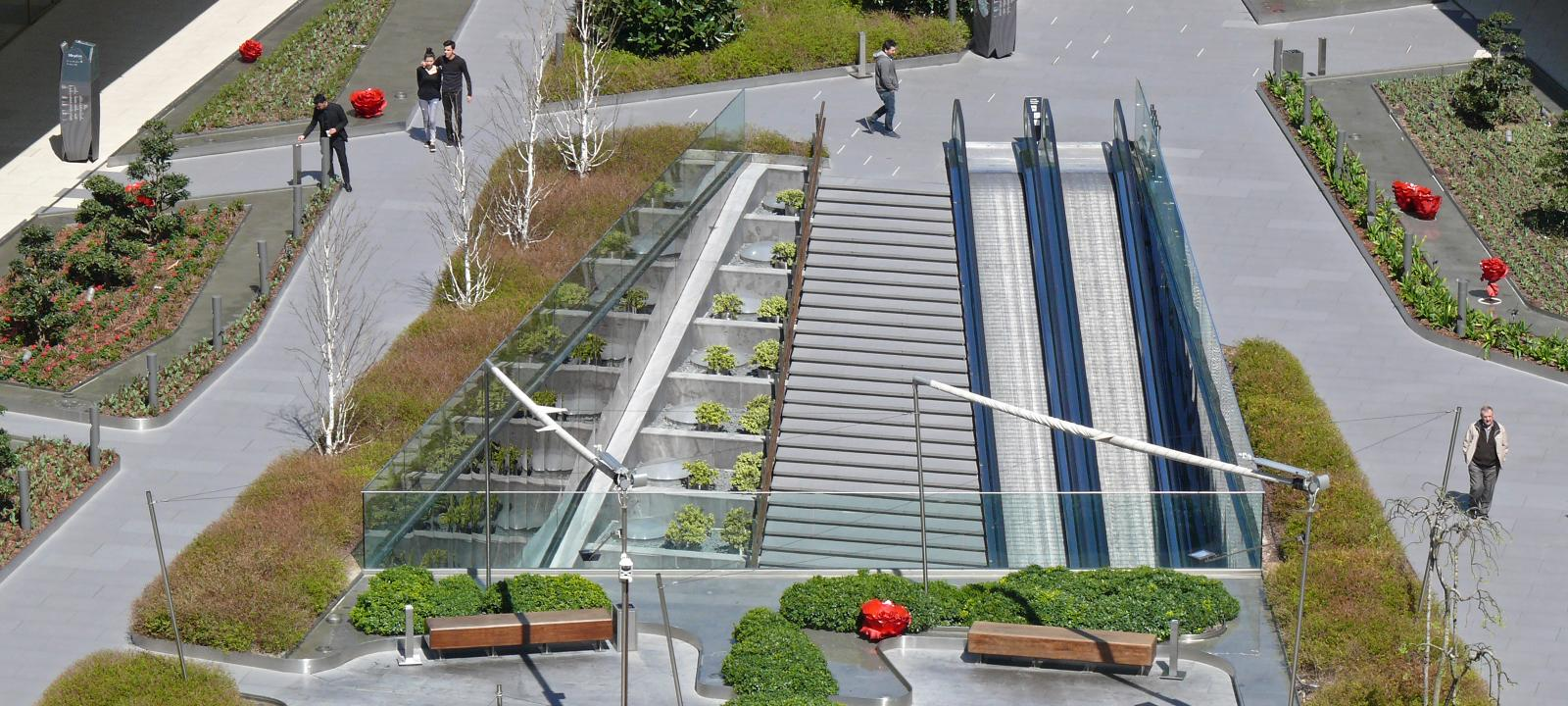 Walkyways and plant beds on the rooftop of a shopping mall
