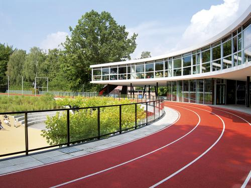 Running track on a school roof