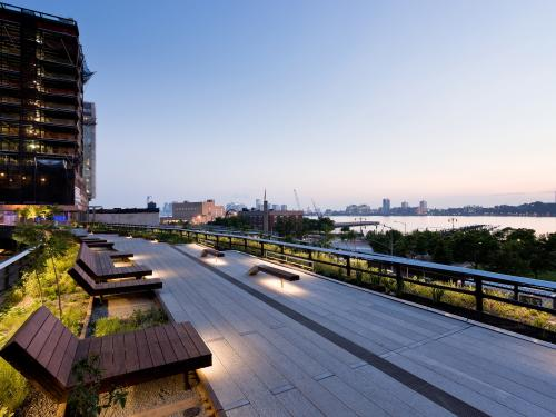 The High Line with wooden loungers at night