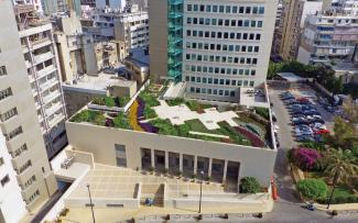 Roof garden surrounded by skyscrapers