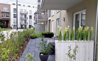Decorated patios in front of residential flats