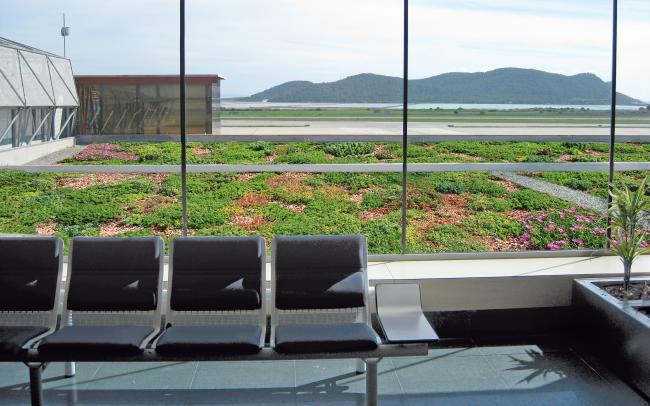 View from the waiting hall on the green roof