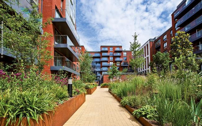 Courtyard with blooming plant beds and a pathway surrounded by residential buildings